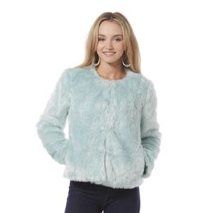 Blue Faux Fur Jacket New without Tags